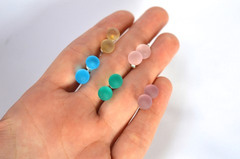 Stud Earrings Little matte glass drops -Efecto Glass jewellery
