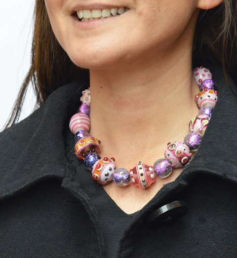 Collar Cosmos dorado en rosa -Efecto Glass jewelry