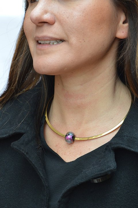 Collar Acero dorado-Efecto Glass jewelry