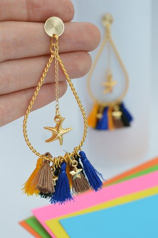 Earrings Drop tassels stars-Carol Sterling - buy online