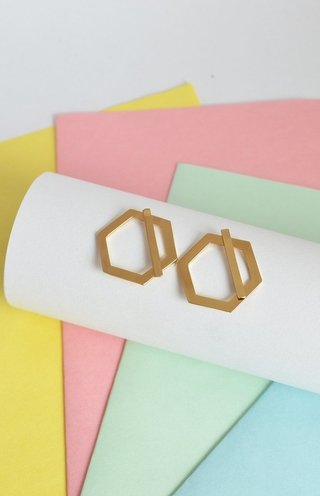 Earrings Double hexagon-Donella - buy online