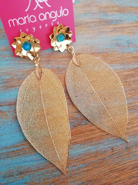 Earrings Leaves - María Angulo Joyería