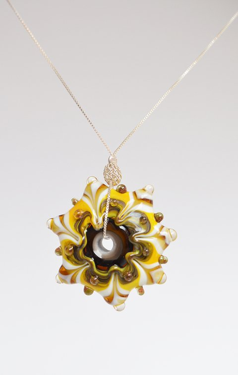 Necklace SilverOcher Yellow Mandala-Efecto Glass jewelry - buy online