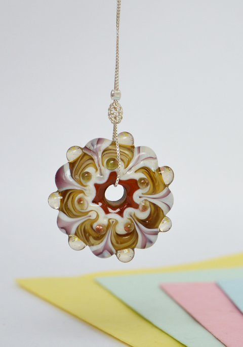 Necklace Silver Yellow Mandala-Efecto Glass jewelry - buy online