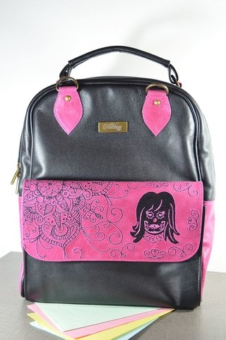 Leather Backpack Pink mandala-La Mantrina