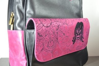 Leather Backpack Pink mandala-La Mantrina on internet