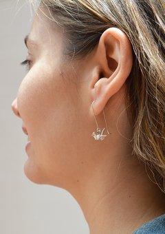Earrings Silver Crane - Papel Plegado - buy online