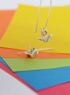 Earrings Silver Crane - Papel Plegado