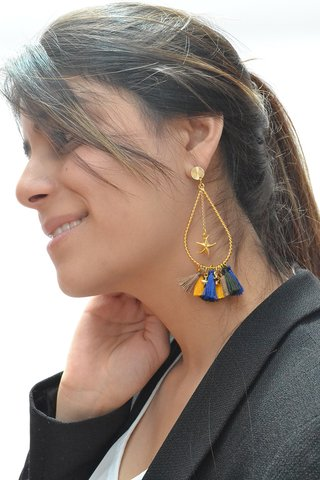 Earrings Drop tassels stars-Carol Sterling - Currucutú|Accesorios latinoamericanos hechos a mano