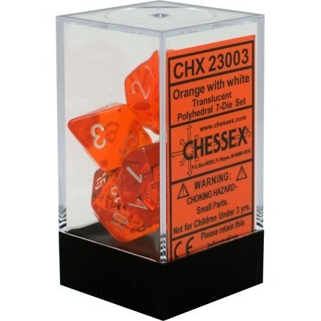 Set de 7 Dados Chessex Translucent Orange - comprar online