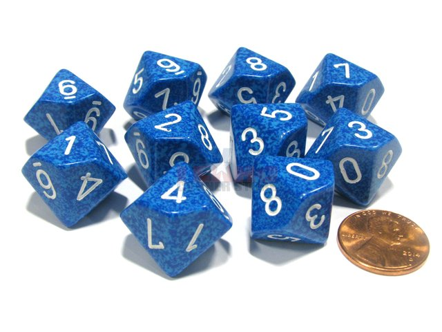 Set de 10 D10 Chessex Speckled Water