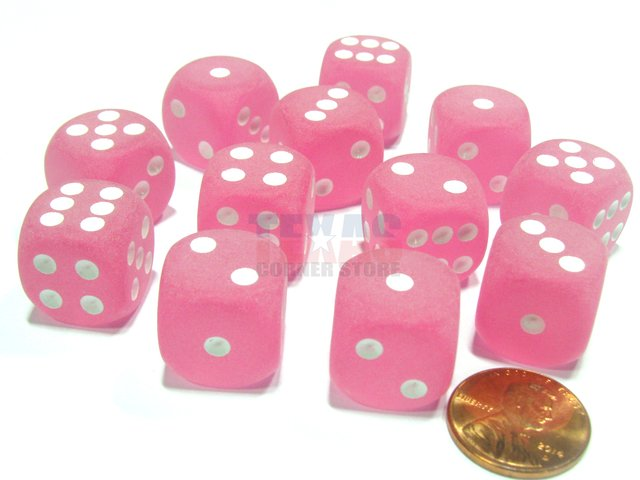 Bloque de 12 D6 Chessex Frosted Pink/white 16mm