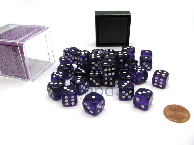 Bloque de 36 D6 Chessex Translucent Purple/white 12mm
