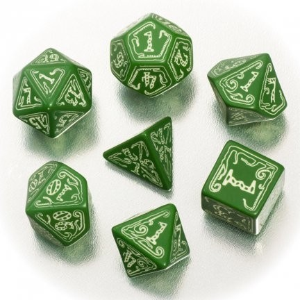 Set de 7 Dados Q-Workshop Call of Cthulhu Green & Glow in the dark