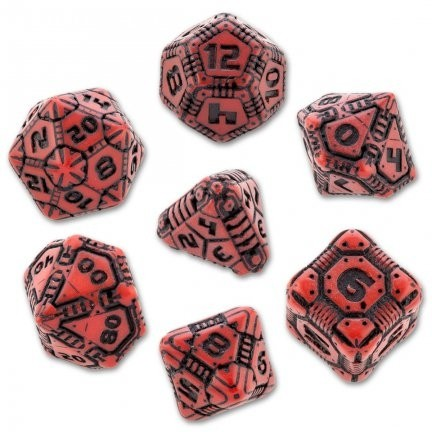 Set de 7 Dados Q-Workshop Tech Red & Black