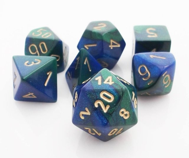 Set de 7 Dados Chessex Gemini Blue-Green/gold