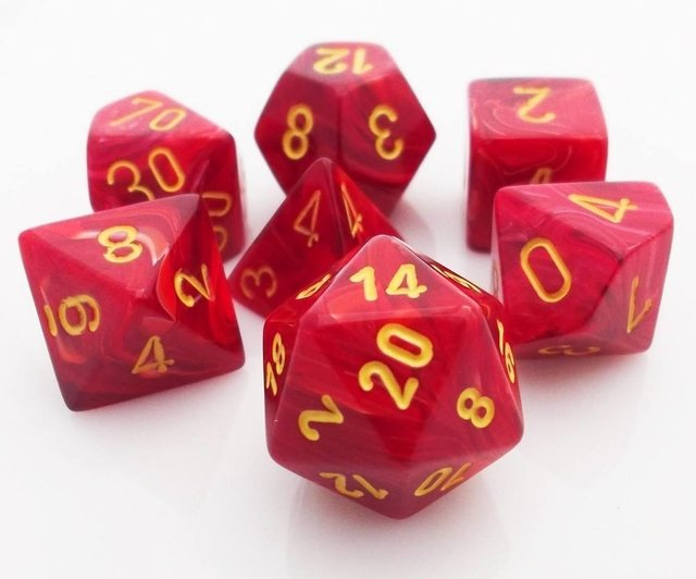 Set de 7 Dados Chessex Vortex Red/yellow