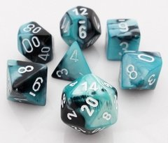 Set de 7 Dados Chessex Gemini Black-Shell/White