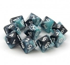 Set de 10 D10 Chessex Gemini Black-Shell/white - comprar online