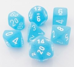 Set de 7 Dados Chessex Frosted Caribbean Blue/White