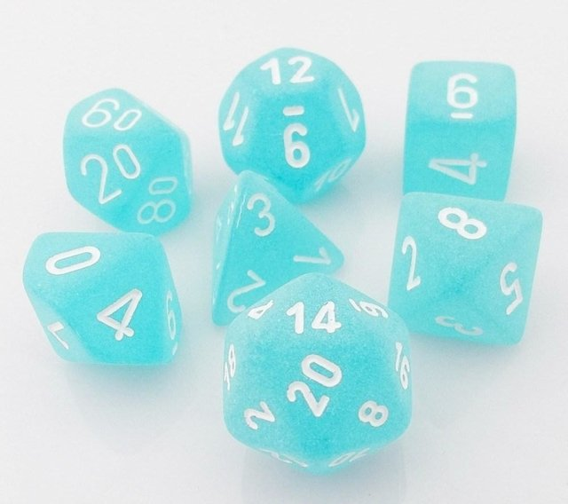 Set de 7 Dados Chessex Frosted Teal/white