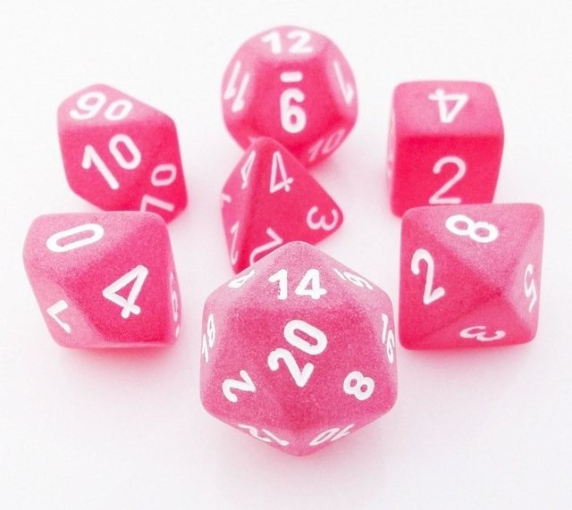 Set de 7 Dados Chessex Frosted Red/white