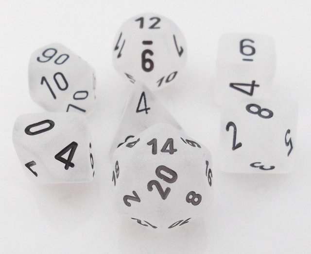 Set de 7 Dados Chessex Frosted Clear/Black