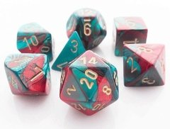 Set de 7 Dados Chessex Gemini Red-Teal/gold