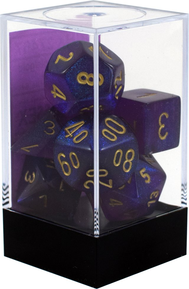 Set de 7 Dados Chessex Borealis Royal Purple/Gold en internet