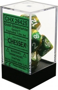 Set de 7 Dados Chessex Gemini Gold-Green/White en internet