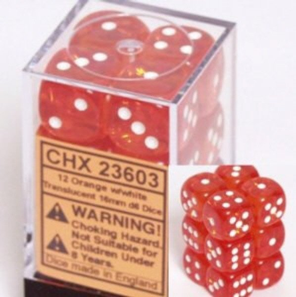 Bloque de 12 D6 Chessex Translucent Orange/white 16mm  - tienda online