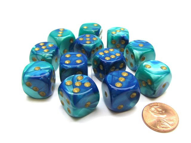 Bloque de 12 D6 Chessex Gemini Blue-Teal/gold 16mm