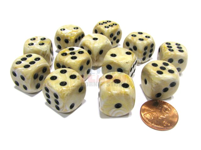 Bloque de 12 D6 Chessex Marble Ivory/black 16mm