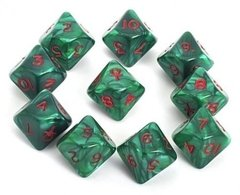 Set de 10 D10 Chessex Ankh Green/Red