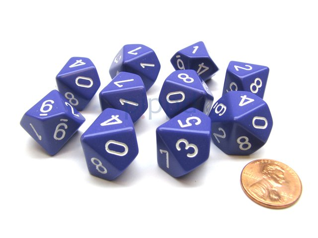 Set de 10 D10 Chessex Opaque Purple/white
