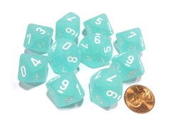 Set de 10 D10 Chessex Frosted Teal/white