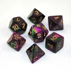 Set de 7 Dados Chessex Gemini Green-Purple/gold - comprar online