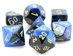 Set de 7 Dados Chessex Gemini Black-Blue/gold