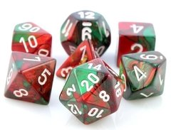Set de 7 Dados Chessex Gemini Green-Red/white