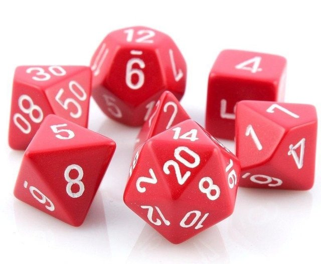 Set de 7 Dados Chessex Opaque Red/White