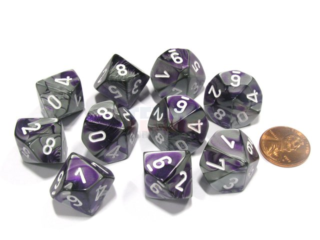 Set de 10 D10 Chessex Gemini Purple-Steel/white