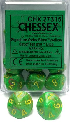 Set de 10 D10 Chessex Vortex Slime/Yellow en internet
