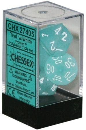 Set de 7 Dados Chessex Frosted Teal/white en internet