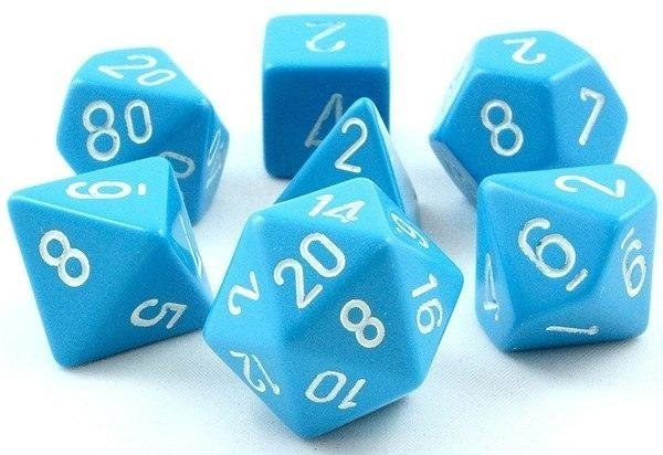 Set de 7 Dados Chessex Opaque Light Blue/white
