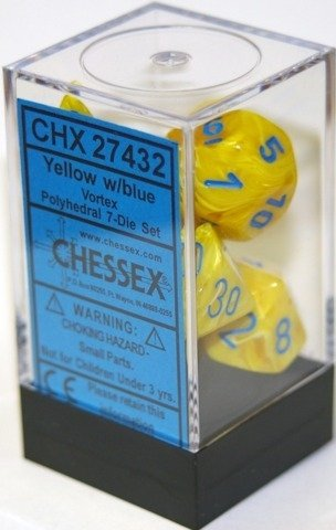 Set de 7 Dados Chessex Vortex Yellow/Blue en internet