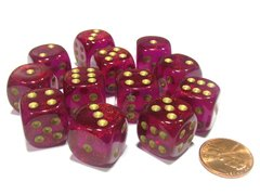 Bloque de 12 D6 Chessex Borealis Magenta/gold 16mm