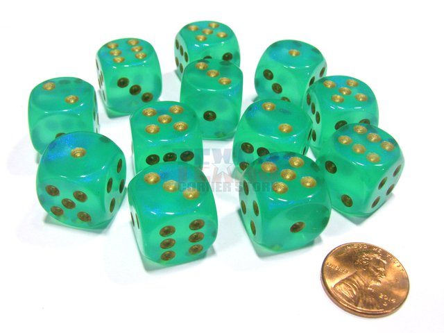 Bloque de 12 D6 Chessex Borealis Light Green/gold 16mm
