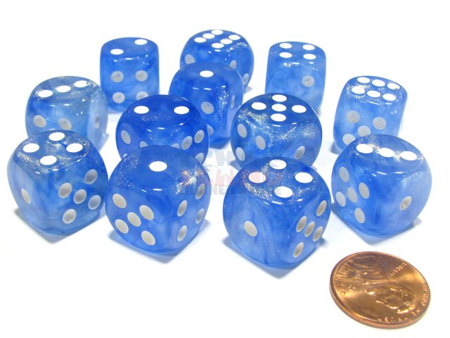 Bloque de 12 D6 Chessex Borealis Sky Blue/white 16mm
