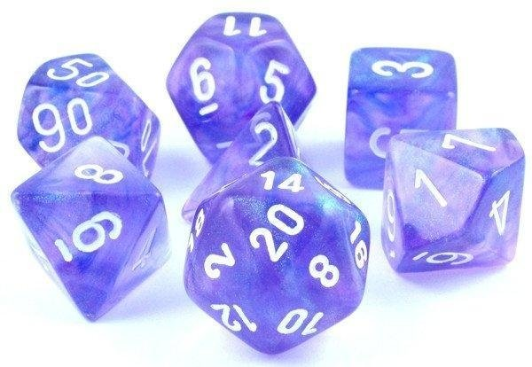 Set de 7 Dados Chessex Borealis Purple/White
