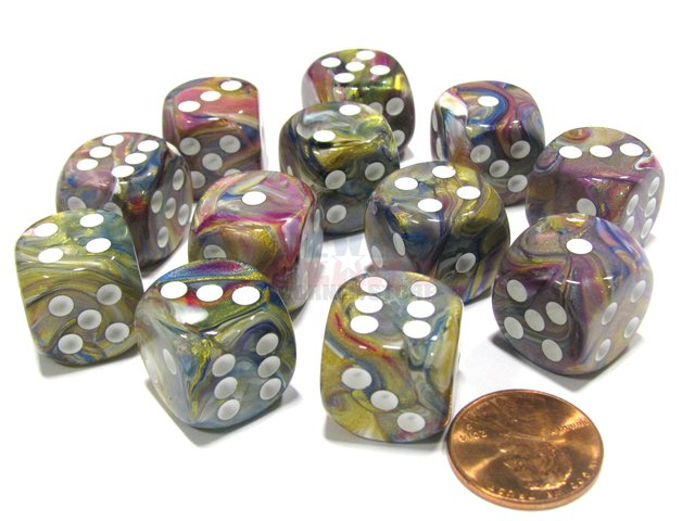 Bloque de 12 D6 Chessex Festive Carousel/white 16mm